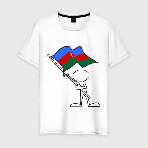 Мужская футболка хлопок Waving flag - Azerbaijan