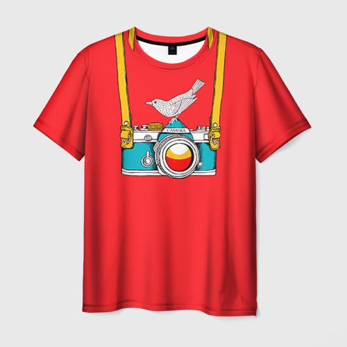 Мужская футболка 3D Фотоаппарат с птичкой