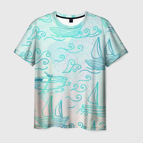 Мужская футболка 3D Лазурные корабли