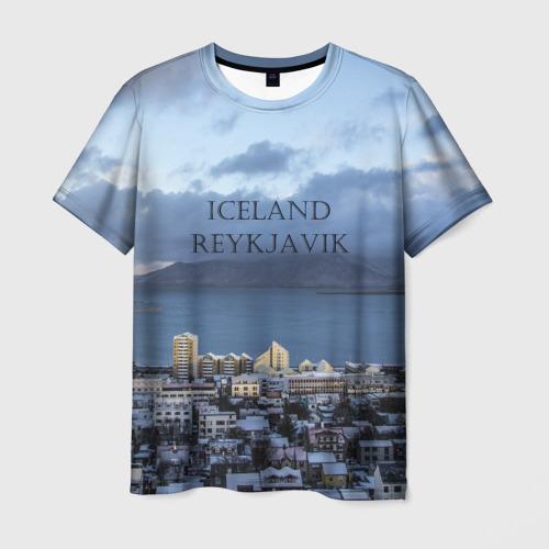 Мужская футболка 3D Исландия Рейкявик