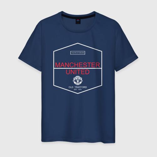 Мужская футболка хлопок Manchester United - Old Trafford (белый рисунок)