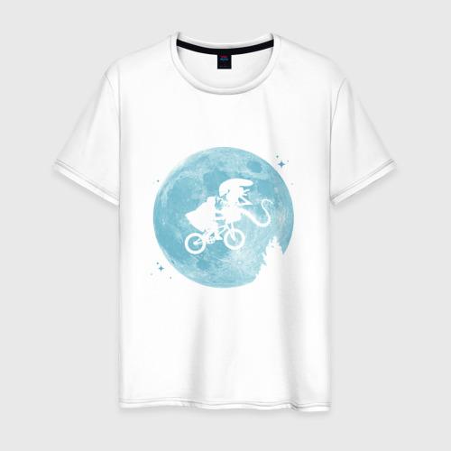Мужская футболка хлопок Лунный велосипедист и Чужой
