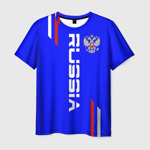 Мужская футболка 3D Russia надпись и герб