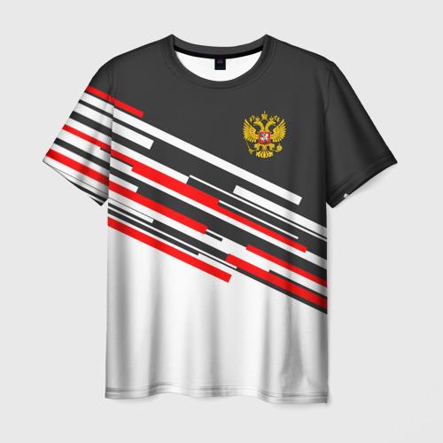 Мужская футболка 3D RUSSIA - Black and White