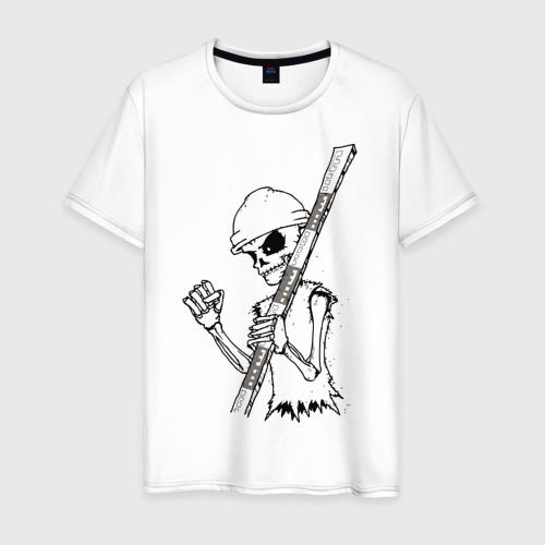 Мужская футболка хлопок Скелетон геодезист 2 (черн.)