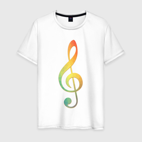 Мужская футболка хлопок Скрипичный ключ, цветной.