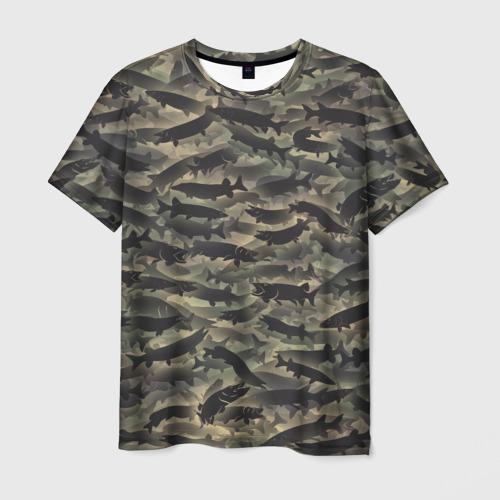 Мужская футболка 3D Камуфляж с щуками