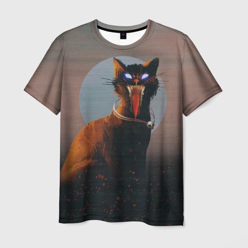 Мужская футболка 3D Орущий кот